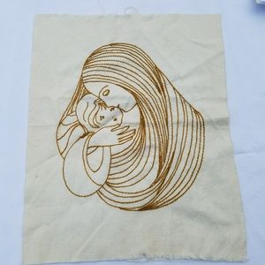VTG Handmade Hand-stitched Wall Hanging Linen